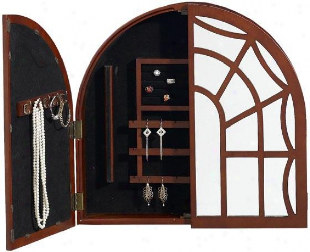 """arch Jewelry Armoire - 22.5""""hx23.5""""w, Brick Red"""