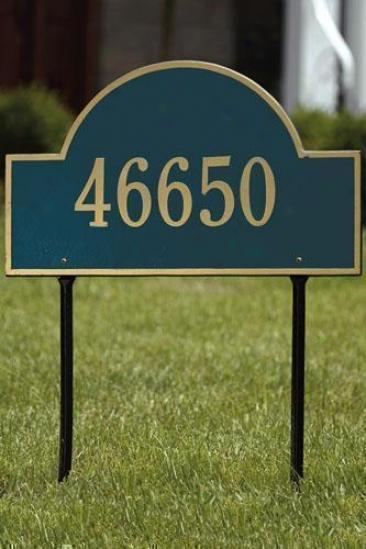 Arch One-line Estate Lawn Address Plaque - Estate/one Line, Navy Dismal