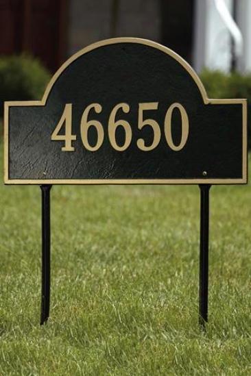 Arch One-line Standard Lawn Address Plaque - Standard/1 Line, Black