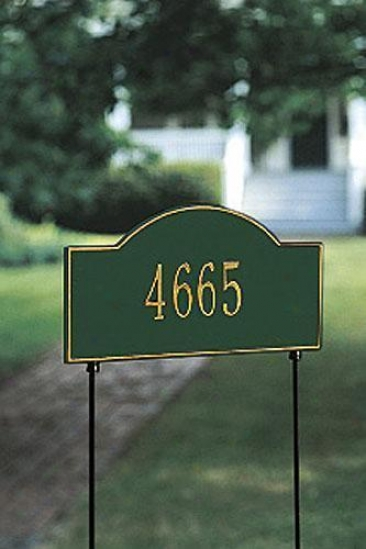 Arch One-lin Two-sided Standard Lawn Address Plaque - Stnd Arch/1line, Green