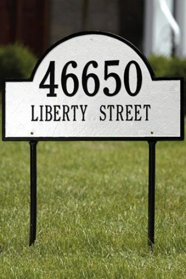 Arch Two-line Ensign Lawn Address Plaque - Standard/2 Line, Happy
