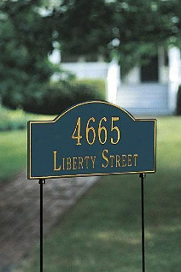 Arch Two-line Two-sided Standard Lawn Address Plaque - Stnd Arch/2line, Navy Blue