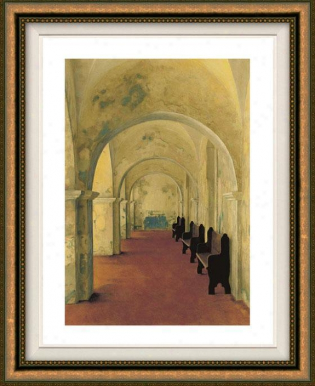 """arcos Antiguas Framed Wall Art - 38""""hx32""""w, Floated Gold"""