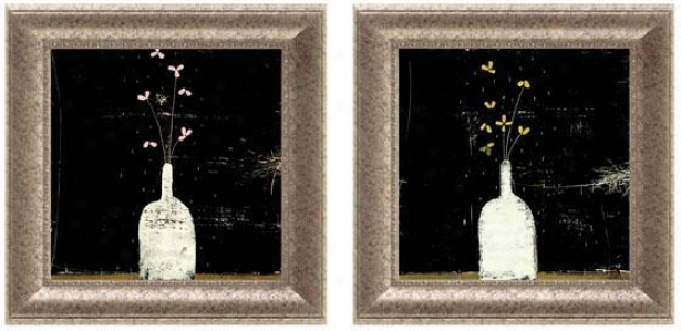 Arctic Flowers Framed Wall Art - Set Of 2 - Set Of Two, Black