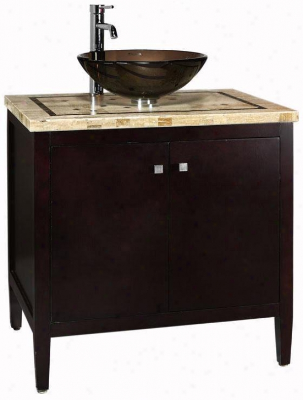 Argonne Bathroom Vanity - Mrbl Top/brw Bs, Coffee Brown
