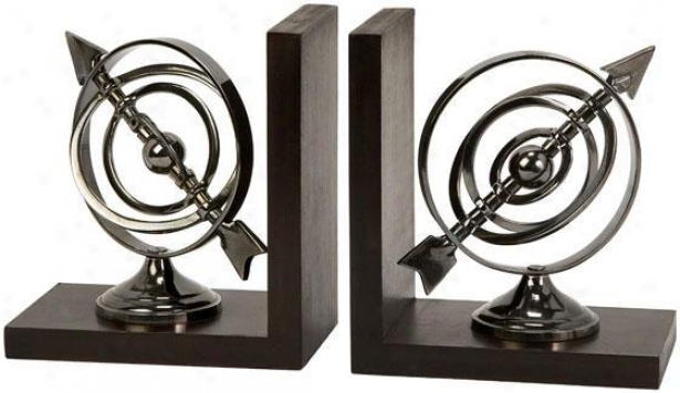 Armillary Bookends - Placed Of 2 - Set Of 2, Silver