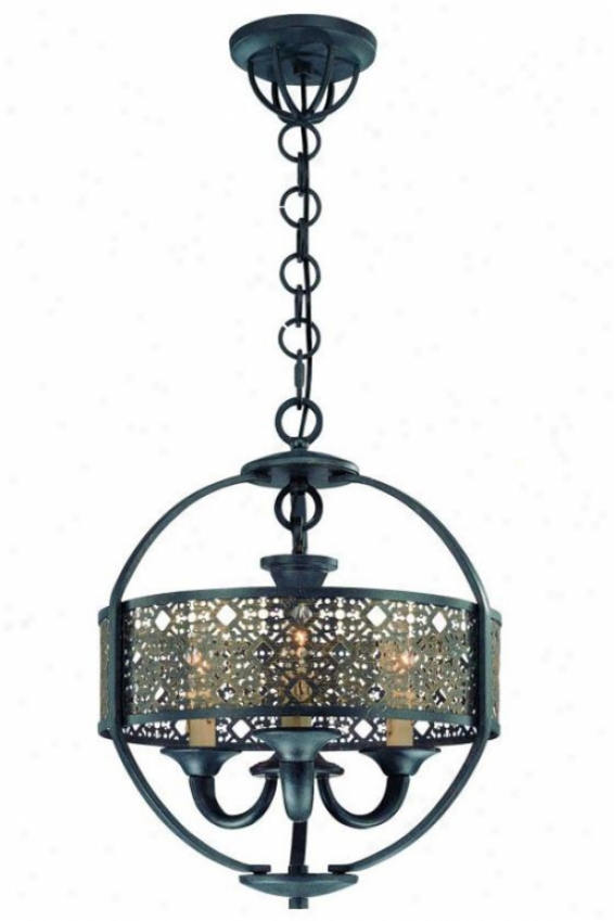 Armory Chandelier - Three Light, Of great age Bronze