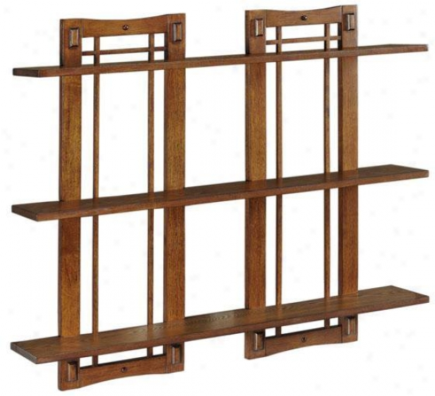 Artisan Double Open-panel Wall Shelf - Double 3-shelf, Brown