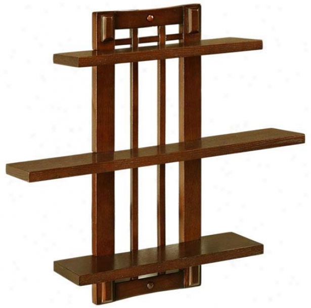 """artisan Single Open-panel Wall Shelf - Sngl 3shlf 18""""w, Brown"""