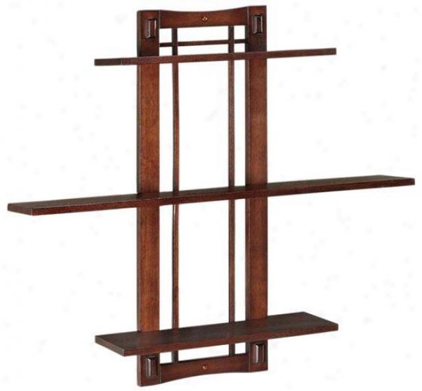 """artisan Single Wide Open-panel Wall Shelf - Sngl 3shlf 32""""w, Tan Wood"""