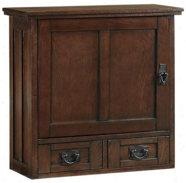 """artisan Wall Cabinet By the side of Wood Doors - 22.75""""hx23.5""""w, Brown Oak"""