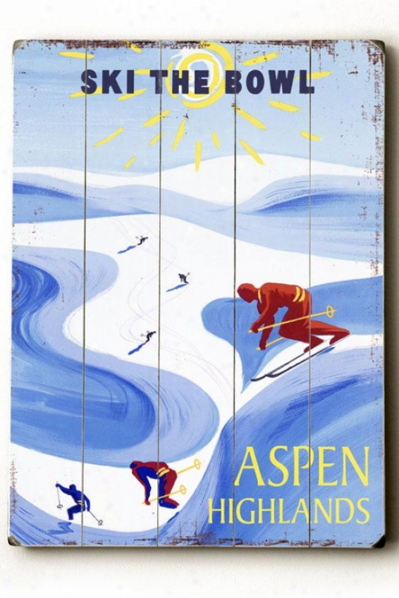 """aspen Highlands Wooden Sign - 20""""h X 14""""w, Blue"""
