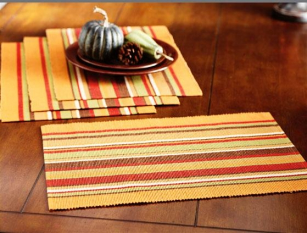 Atwood Stripe Placemats - Set Of 4 - 4pc Set, Brown