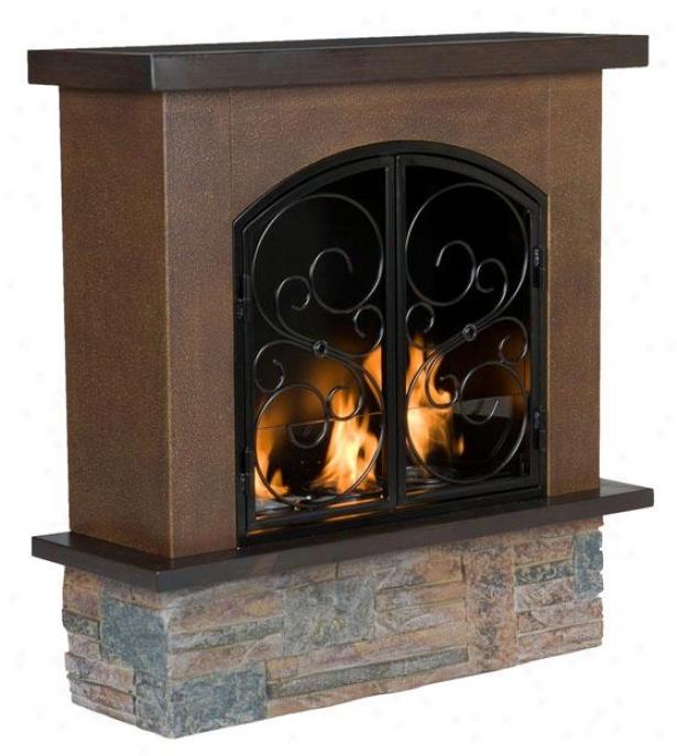 """austin Gel Fireplace - 30""""wx30""""hx10""""d, Brown"""