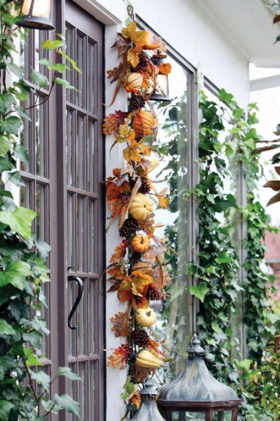 Autumn Gathering Garland - Garland 6ft, Orange