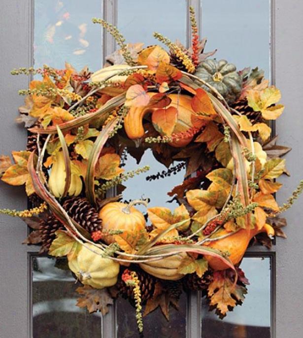 """""""autumn Gathering Wreath - Wreathh 24""""""""d, Orange"""""""
