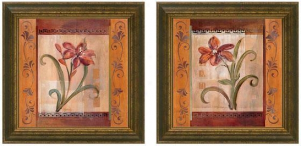 Autumn Lily Framed Wall Art - Set Of 2 - Set Of Two, Burgundy