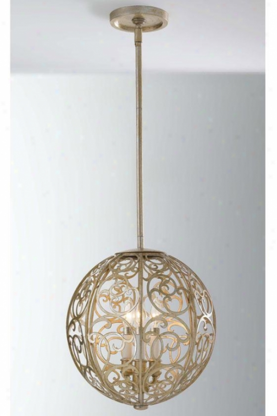 Ava Pendant - Three Light, Slv Leaf Patina