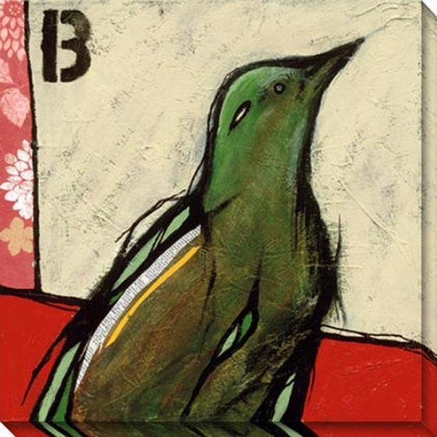 """b Is For Bird Canvas Wall Art - 40""""hx40""""w, White"""