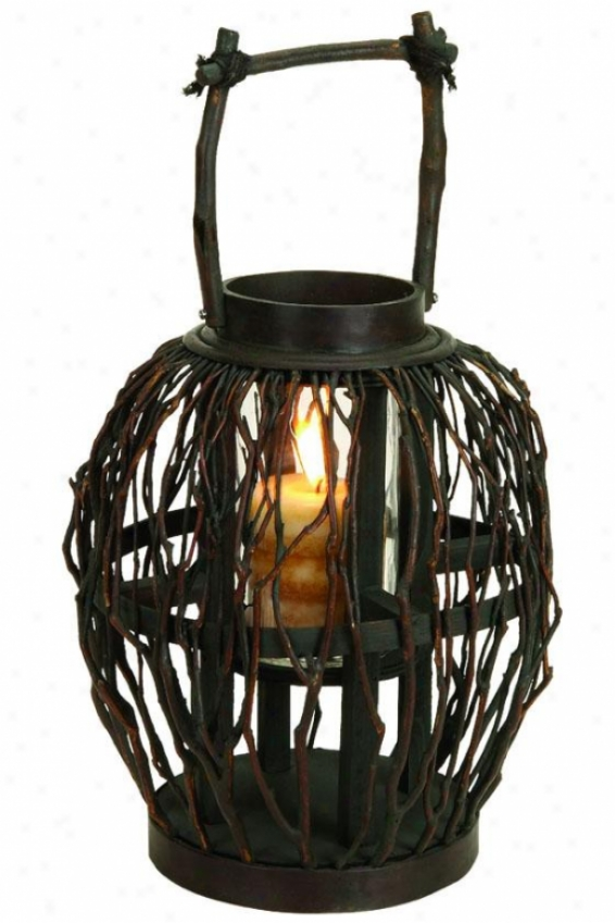 """bamboo Lantern - 17""""hx10""""w, Brown"""