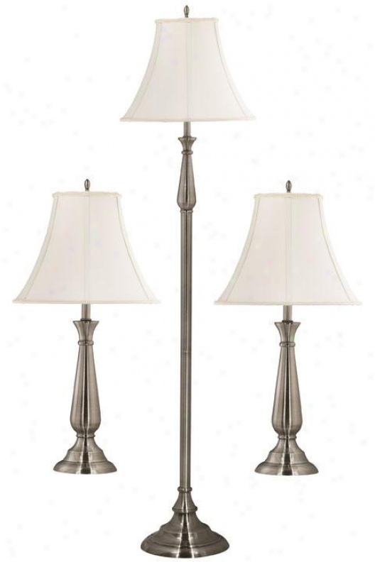 Banister 3-pack Lamp Set - Slant Wh Shade, Grey Steel