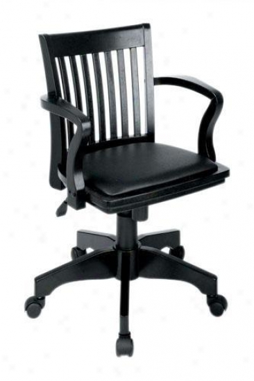 Banker's Desk Chair With Vinyl Seat - Black Vinyl, Black