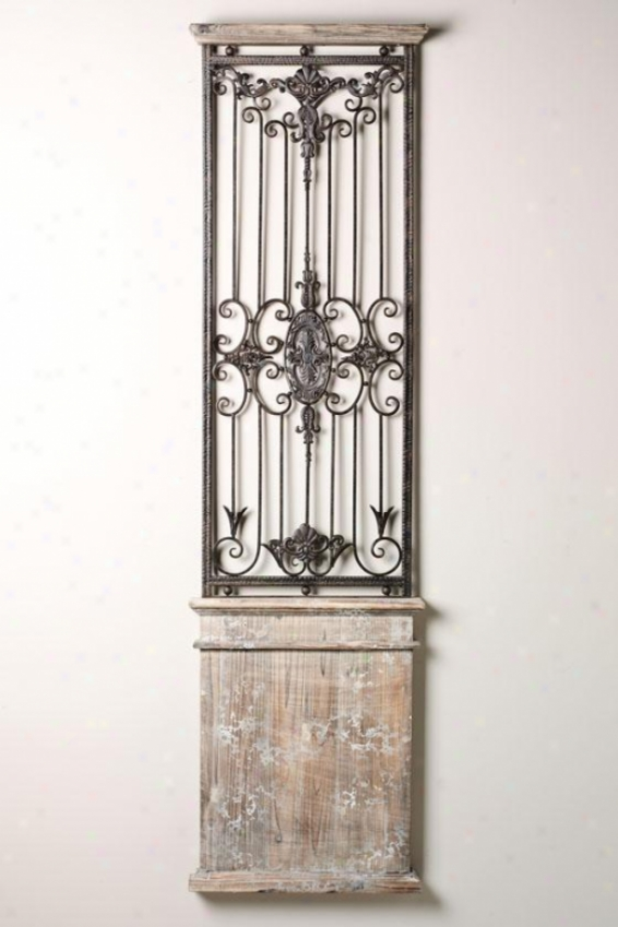 """baroness Wall Gate - 71""""h X 20""""w, Iron/wood"""