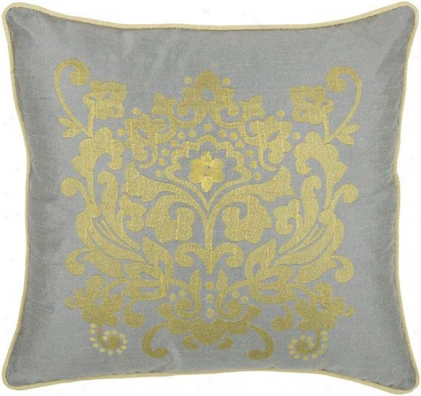 """baroque Decorative Pillow - 18"""" Adjusted, White"""