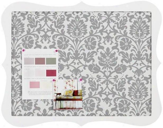 """""""baroque Memo Board - 17""""""""hx21""""""""w, Ivory Floral"""""""