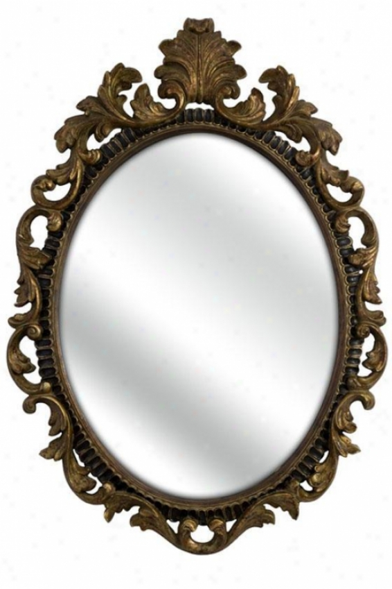 """baroque Mirror - 48""""hx34""""w, Brown"""