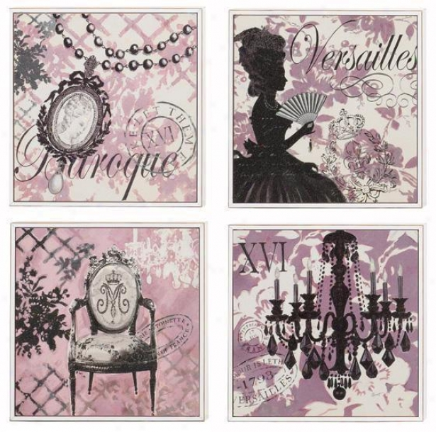 Baroque Wall Art - Set Of 4 - Set Of 4, Pink/black