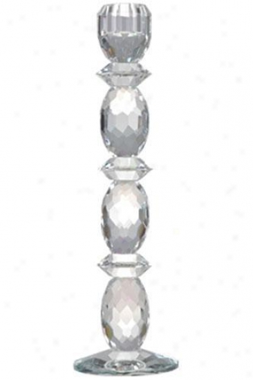 """basston Lead Crystal Candlestick - 12""""h, Crystal"""