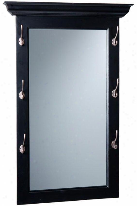 """baxter Entryway Mirror W  Hooks - 40.25""""hx26""""w, Black"""