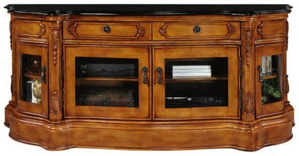 Baymont Wide-screen Tv Cabinet - Glass Doors, Oak