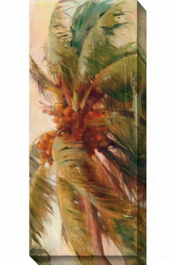 Beach Palm Ii Canvas Wall Art - Ii, Ivory