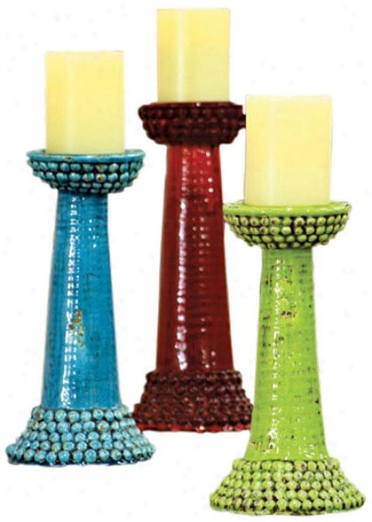Beaded Cerami Candle Stands - Set Of 3 - Set Of 3, Purple
