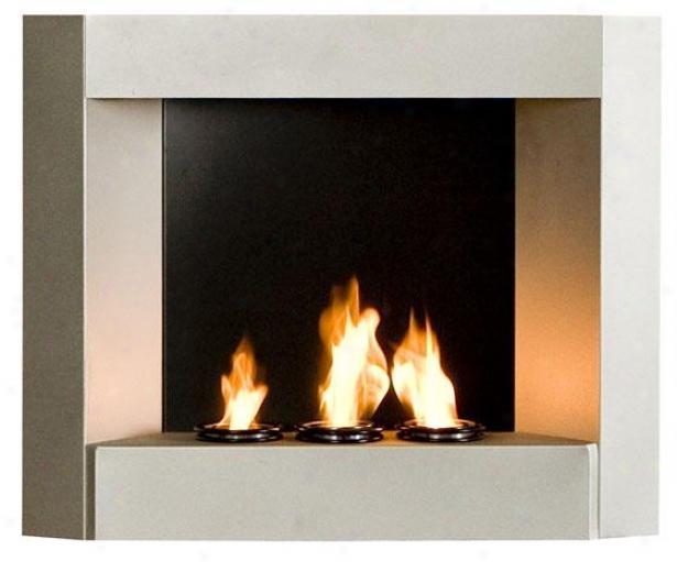 """""""beau Wall Mount Fireplace - 30""""""""wx24""""""""hx6""""""""d, Silver"""""""