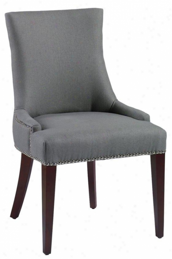 """becca Nailhead Dining Chair - 36""""hx22""""w, Blue/gray Linen"""