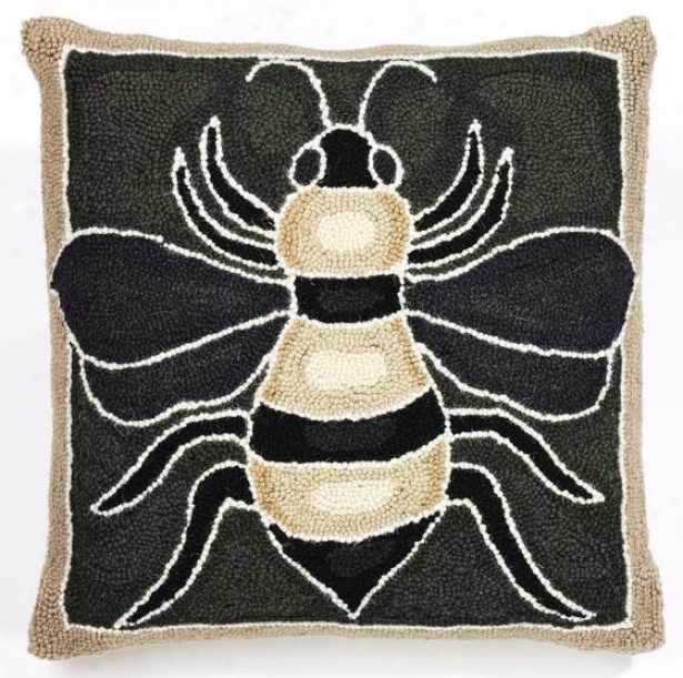 """bee Hook Pillow - 18""""square, Green/brown/tan"""