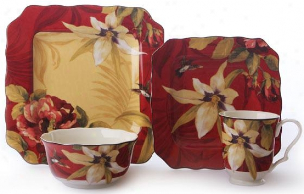 Belize Square 16-piece Dinnerware Put - 16 Piece Set, Red