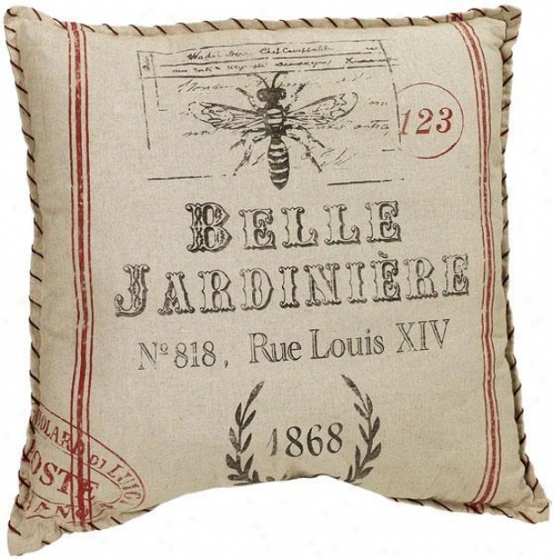 """""""belle Jardiniere Pillow - 24"""""""" Square, Ivory"""""""