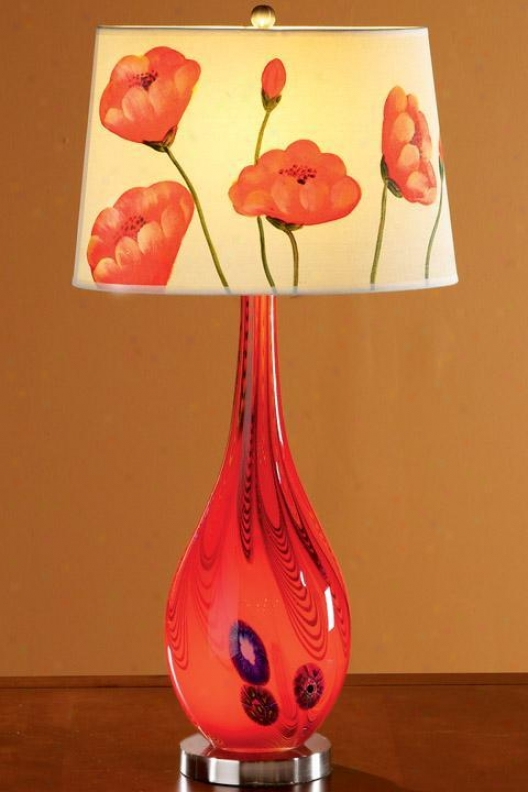 """bellini Stratford Table Lamp With Light-up Base - Hand-painted Shade - 29.5""""h, Hand-painted"""