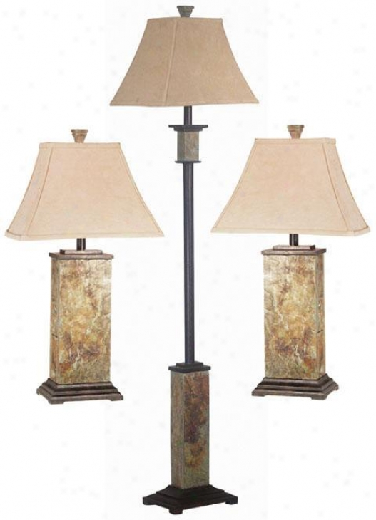 Bennington 3-pack Lamp Set - Fabric Shade, Slate Gray