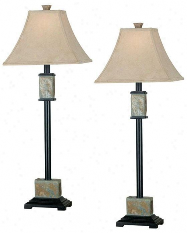 Bennington Buffet Lamps - Set Of 2 - Fawn Fabric, Beigw