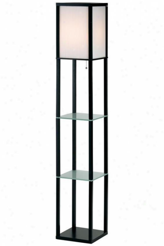 """berk Shelf Floor Lamp - 64.5""""hx10.5""""sq, Black"""