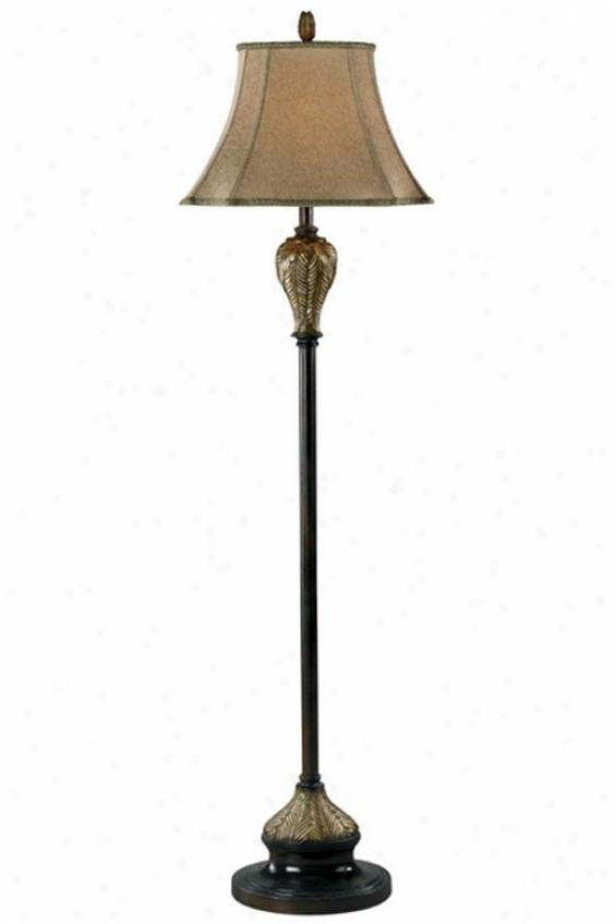 Bermud Floor Lamp - Gold Prnt Fabrc, Brown