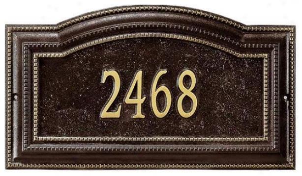 Bevolo One-line Estate Wall Address Marker - Estate 1 Line, Oil Rubbed Bronze