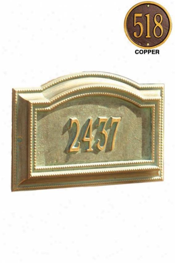 Bevolo One-line Criterion Lawn Address Marker - Standard 1 Line, Copper