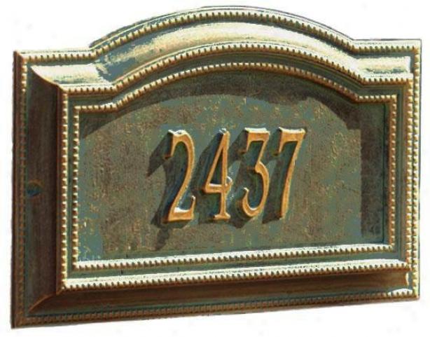 Bevolo One-line Standard Wall Address Marker - Standard 1 Line, Verdigris/bronz