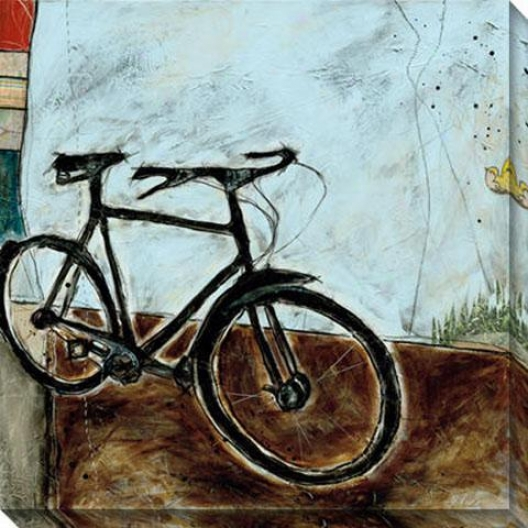 """bicycle I Canvas Wall Art - 40""""hx40""""w, Blue"""